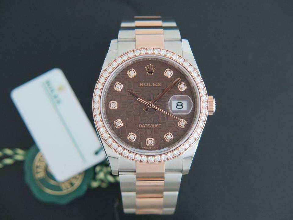 Rolex  Rolex Datejust NEW 126281RBR Everose/Steel Chocolate Diamond Dial