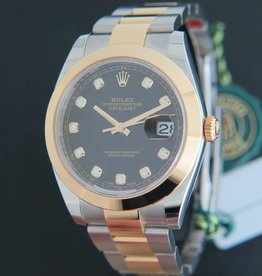 Rolex  Datejust 41 Gold/Steel Black Diamond Dial 126303 NEW