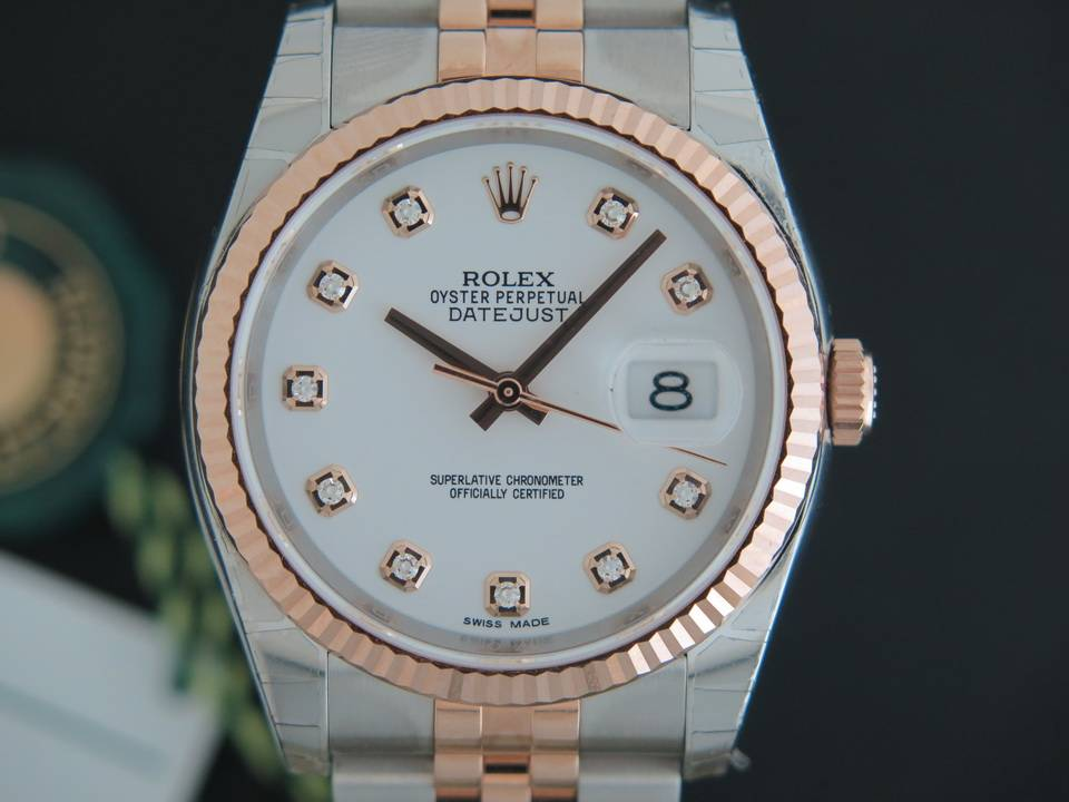 Rolex  Rolex Datejust Everosegold/Steel White Diamond Dial NEW 116231