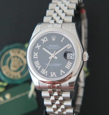 Rolex  Datejust Black Roman Dial NEW 178240