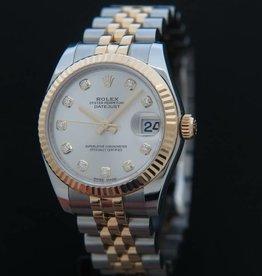 Rolex  Datejust Gold/Steel Silver Diamonds 178273