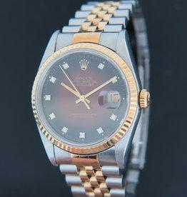 Rolex  Datejust Gold/Steel 16233 Red Vignette Diamond Dial