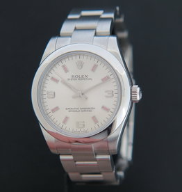 Rolex  Oyster Perpetual 177200 Silver Dial with Pink Index