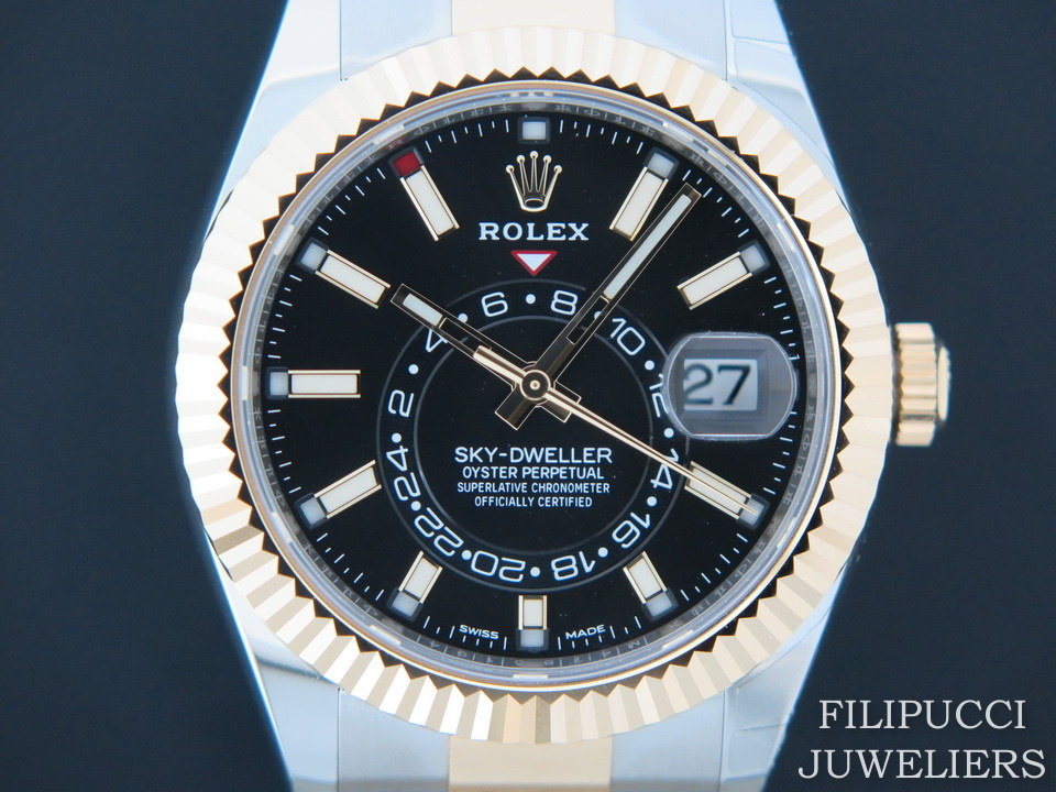 Rolex  Rolex Sky-Dweller Gold/Steel Black NEW 326933