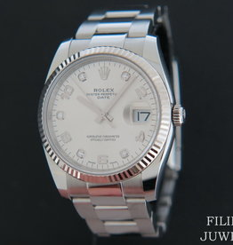 Rolex  Date Silver Diamonds 115234