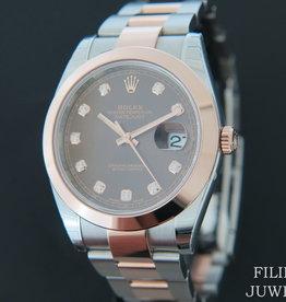 Rolex  Datejust 41 Everosegold/Steel Choco Diamond Dial NEW 126301