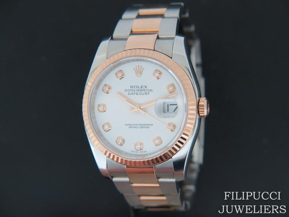 Rolex  Rolex Datejust Everosegold/Steel White Diamond Dial 116231