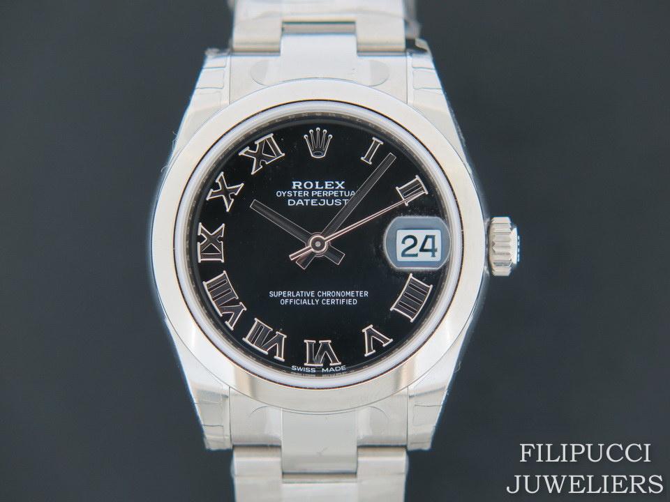 Rolex  Rolex Datejust Black Roman Dial NEW 178240