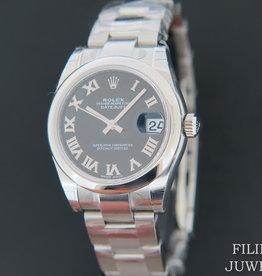 Rolex  Datejust Black Roman Dial NEW 178240