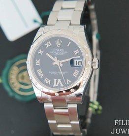 Rolex  Datejust 31mm Bombé Diamonds Purple Dial NEW 178344