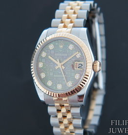 Rolex  Datejust Gold/Steel Black MOP Diamond Dial 178273