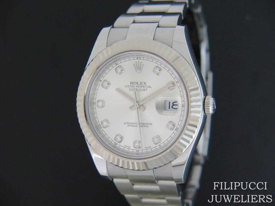 Rolex  Rolex Datejust II Silver Diamond Dial 116334