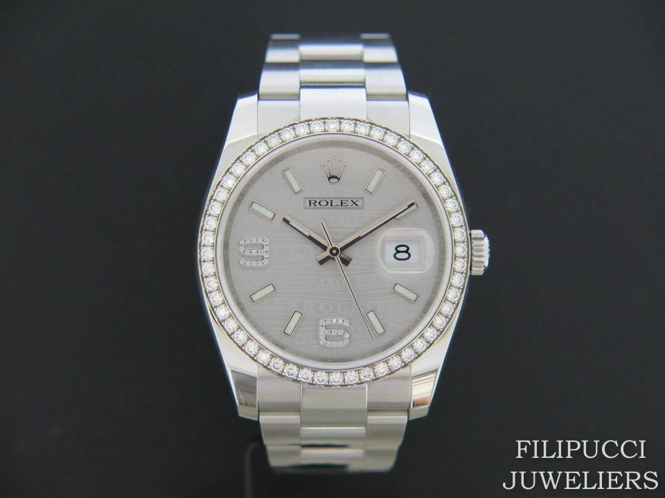 Rolex  Rolex Datejust Silver Diamond Dial and Bezel 116244