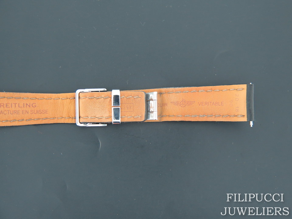 Breitling Breitling Black Leather Strap 20-18 mm with folding clasp