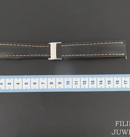 Breitling Black Leather Strap 20-18 mm with folding clasp