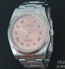 Rolex  Oyster Perpetual White Gold Bezel Pink Diamond Dial 116034