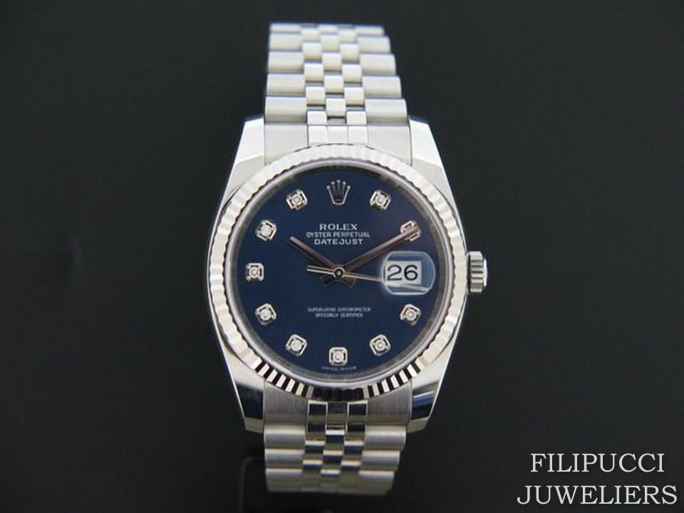Rolex  Rolex Datejust Blue Diamond Dial 116234