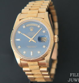 "Rolex  Day-Date ""Bark"" Yellow Gold Blue Diamond Dial 18248"