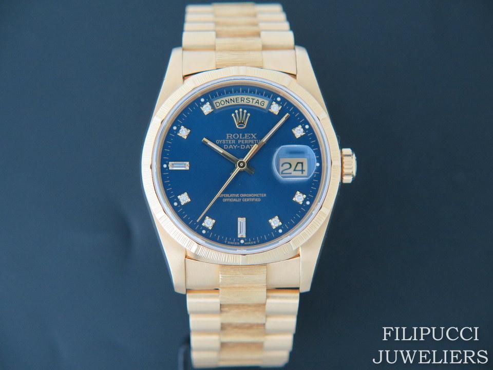 "Rolex  Rolex Day-Date ""Bark"" Yellow Gold Blue Diamond Dial 18248"