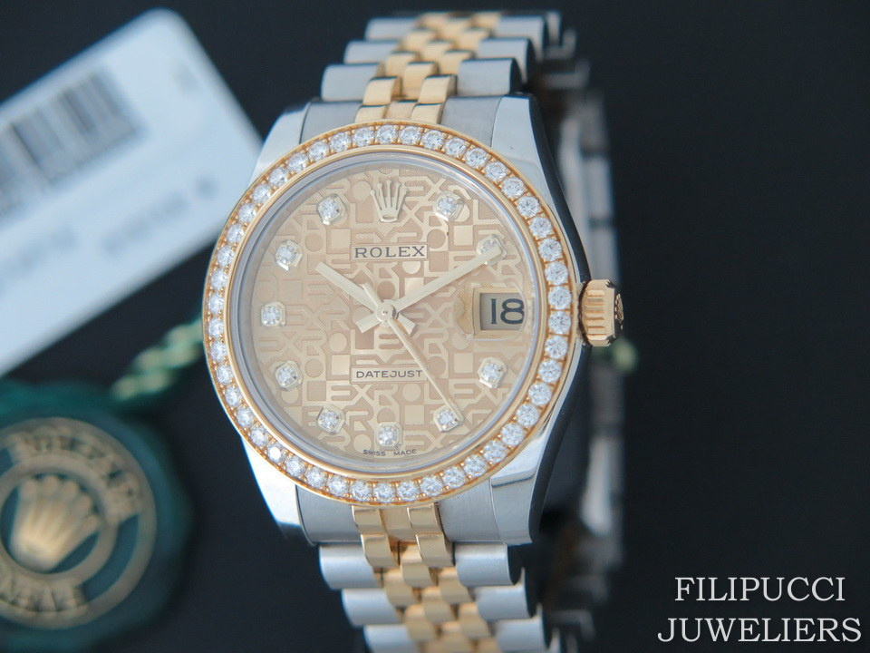 Rolex  Rolex Datejust Gold/Steel Diamond Dial and Diamond Bezel 178383