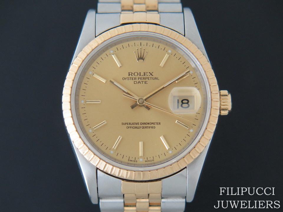 Rolex  Rolex Date Gold/Steel 15233 Champagne Dial