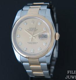 Rolex  Datejust Gold/Steel Champagne Diamond Dial 116203
