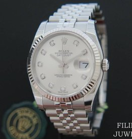 Rolex  Datejust Silver Diamond Dial 116234 NEW