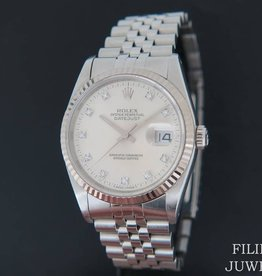 Rolex  Datejust  Silver Diamond Dial 16234