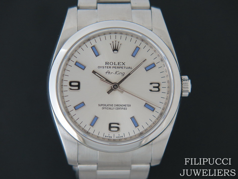 Rolex  Rolex Air-King 3 6 9 Silver Dial With Purple Index 114200
