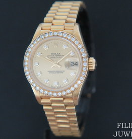 Rolex  Datejust Yellow Gold Diamond bezel & Champagne Diamond Dial 69138