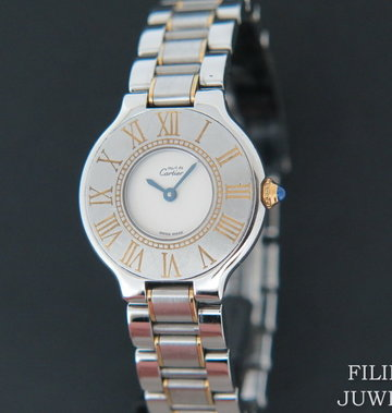 Cartier Must 21 Gold/Steel Ivory Dial