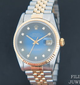Rolex  Datejust Gold/Steel 16233 Blue Vignette Diamond Dial