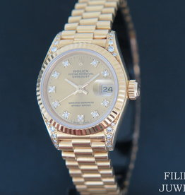 Rolex  Datejust Yellow Gold Champagne Diamond Dial & Diamond Lugs 69238