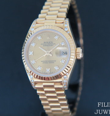 Rolex  Datejust Yellow Gold Champagne Diamond Dial & Diamond Lugs 69238