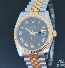 Rolex  Datejust Gold/Steel Black Sunburst Dial 116233