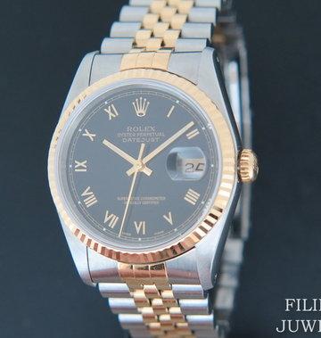 Rolex  Datejust Gold/Steel Black Roman Dial 16233