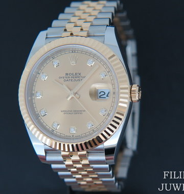 Rolex  Datejust 41 Gold/Steel Champagne Diamond Dial 126333