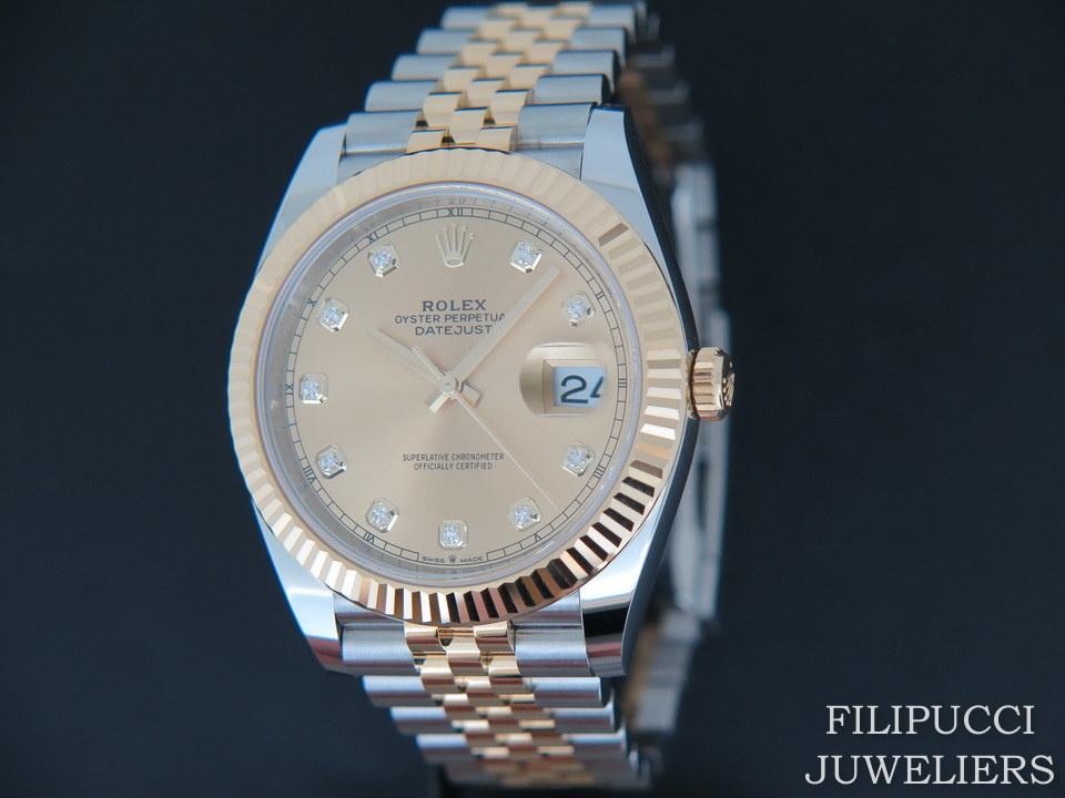 Rolex  Rolex Datejust 41 Gold/Steel Champagne Diamond Dial 126333
