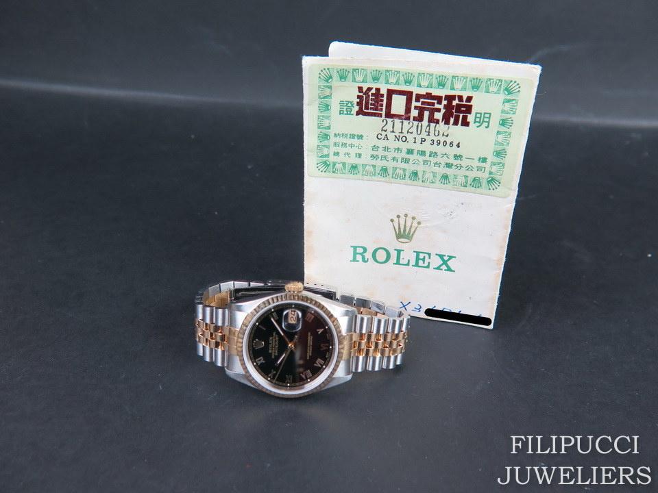 Rolex  Rolex Datejust Gold/Steel Black Roman Dial 16233