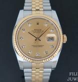Rolex  Rolex Datejust Gold/Steel Champagne Diamond Dial 116233