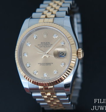 Rolex  Datejust Gold/Steel Champagne Diamond Dial 116233
