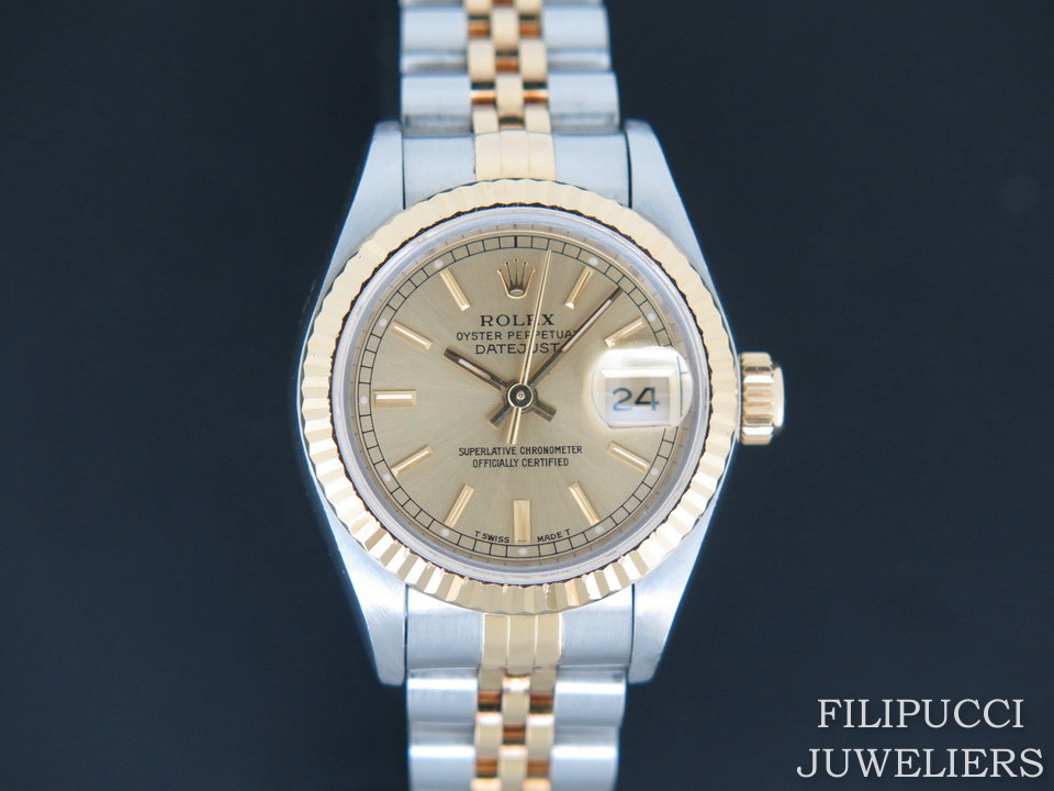 Rolex  Rolex Datejust Lady Gold/Steel Champagne Dial 69173