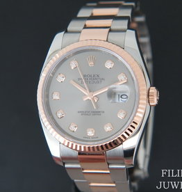 Rolex  Datejust Everosegold/Steel Grey Diamond Dial 116231