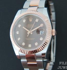 Rolex  Datejust 41 Everosegold/Steel Choco Diamond Dial NEW 126331