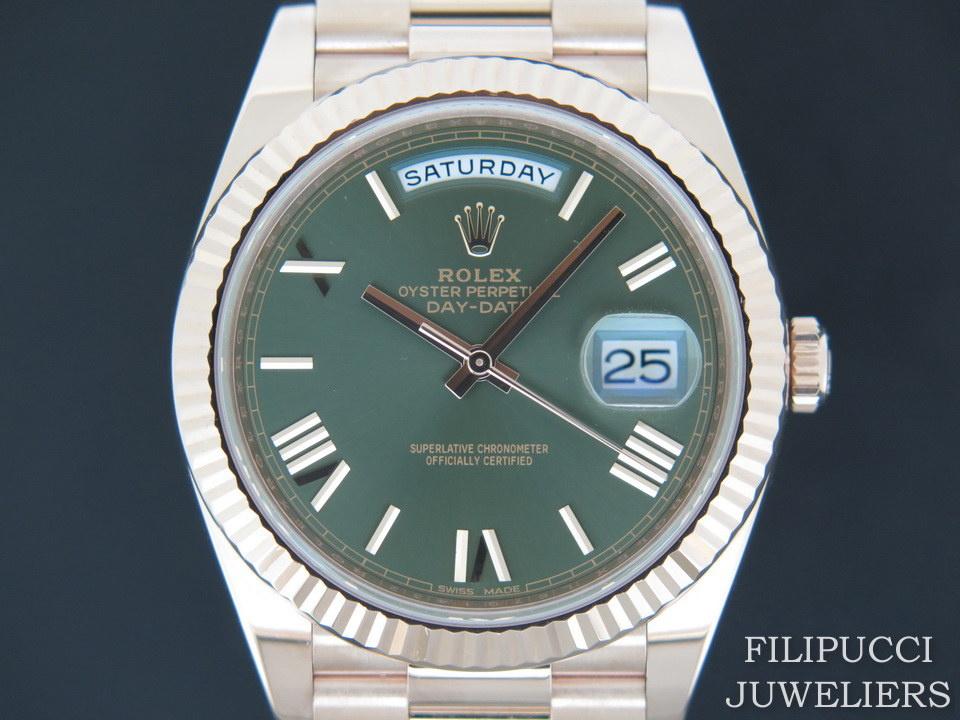 Rolex  Rolex Day-Date Everose Green Roman Dial 228235 NEW
