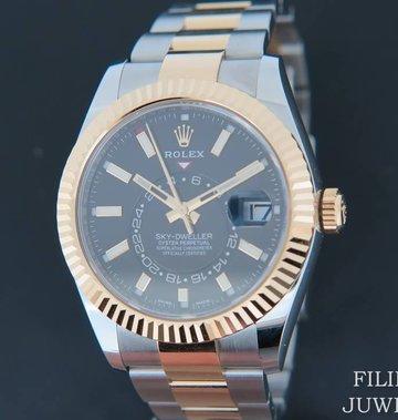 Rolex  Sky-Dweller Gold/Steel Black NEW 326933