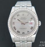 Rolex  Rolex Datejust Silver Dial and Diamond Bezel 116244