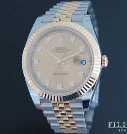 Rolex  Datejust 41 Gold/Steel Champagne Diamond Dial 126333 NEW
