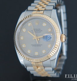 Rolex  Datejust Gold/Steel Grey Diamond Dial 116233