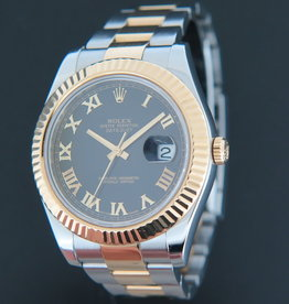 Rolex  Datejust II Gold/Steel Black Roman Dial 116333